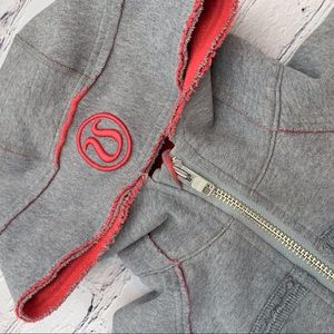 Lululemon Gray and Pink Scuba full zip hoodie SZ 8